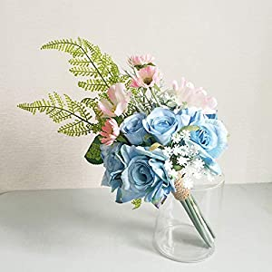 Hozhang Fern Party Bridesmaid Bouquet Rose Greenery Blue Vintage Wedding Flowers Bridal Bouquets Wedding Accessories Decoration 37