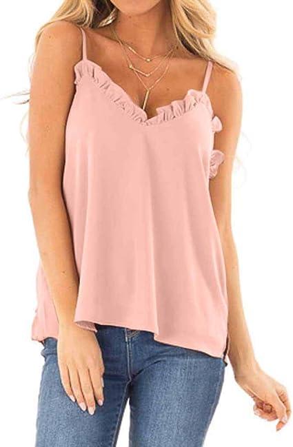 Hokoaidel Blusas Camisetas de Gasa Ropa de Mujer Camisas Color SóLido Tops Honda Sexy Cuello en V Tank Tops Blusas Gasa Verano Chaleco Mujer Moda Mujer Ropa: Amazon.es: Ropa y accesorios