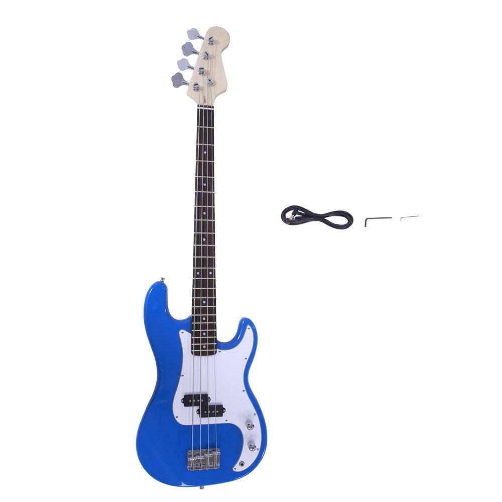 Glarry Electric Bass Guitar Full Size 4 String Rosewood Basswood Fire Style Exquisite Burning Bass Blue