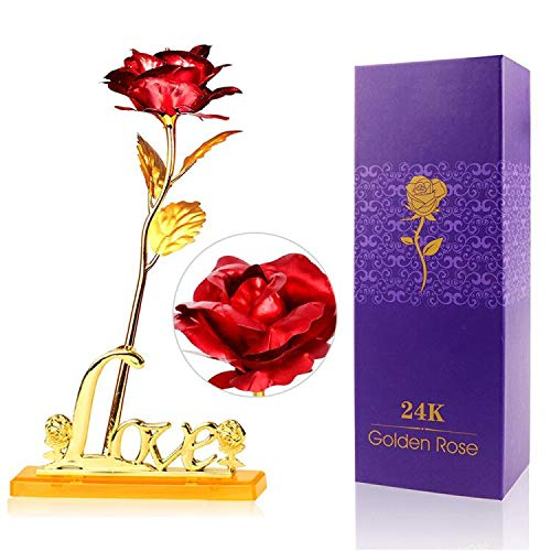 - DreamJane Gold Dipped Rose for Valentine's Day, 24k Gold Plated Rose with Love Holder Box, Best Gift for Valentine's Day, Mother's Day, Anniversary, Birthday Gift (Red)