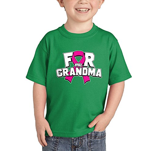 HAASE UNLIMITED Pink Ribbon for My Grandma - Breast Cancer T-Shirt (Kelly Green, 2T)
