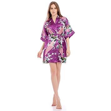 Bata Kimono Floral,Bata Corta Vestido de Satén Albornoces Personalizados Mujeres Bata de Seda Dama de Honor Pijamas Lencería para niñas,Purple-L: Amazon.es: ...