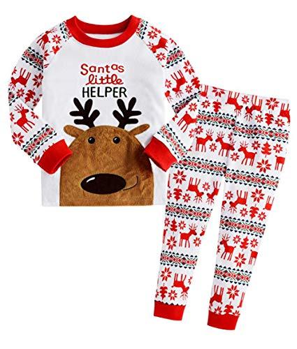 DHASIUE Christmas Kids & Toddler Pajamas Boys Girls 2 Piece Pjs Set Cotton Sleepwear 2-7 Years