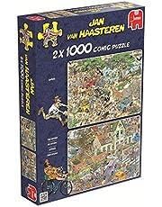Jumbo Spiele 19001 Jan van Haasteren Stormen och Safari pussel, 2 x 1 000 bitar