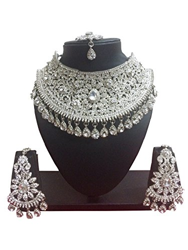 CROWN JEWEL Indian Bollywood Style Fashion Gold Plated Bridal Jewelry Necklace Earring Set for Women (Silver)