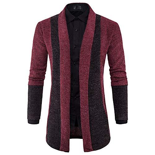 Print Cotton Turtleneck Interlock (minRan Mens Fashion Autumn Pea Coat Winter Slim Fit Sweater Cardigan Long Trench Coat Jacket)