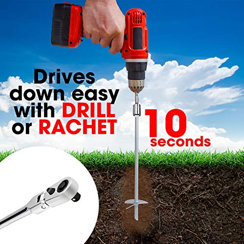 - Powerful 2-Piece Earth Auger Shed Anchor Kit - 1000 LBS Pressure Tested Hold Per Stake-10 Sec Install w/Cordless Drill. Heavy Duty, Reusable, Rust Proof Steel Anchor Set, Galvanized Last 20 Years