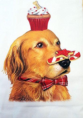 Mary Lake Thompson Golden Retriever Christmas Bakery Cupcake 100% Cotton Flour Sack Dish Tea Towel 30