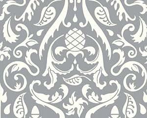 Lars Contzen papel pintado gris metálico blanco 10,05 m x 0,53 m 669384