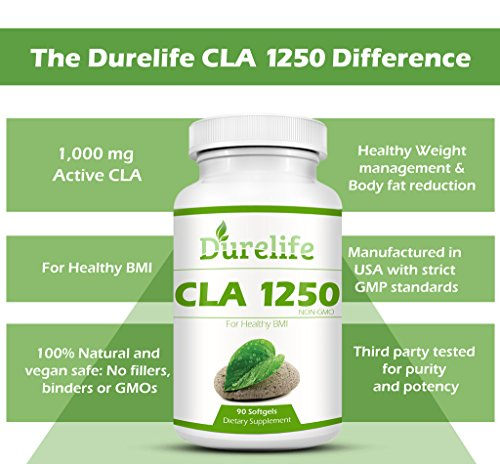 CLA 1250 Mg 90 Count 80% Conjugated Linoleic Acid, DureLife CLA 1,250 Is A Weight Management Diet Supplement Fat Burner And A Non-GMO Natural Weightloss Supplement By Boosting The Metabolism