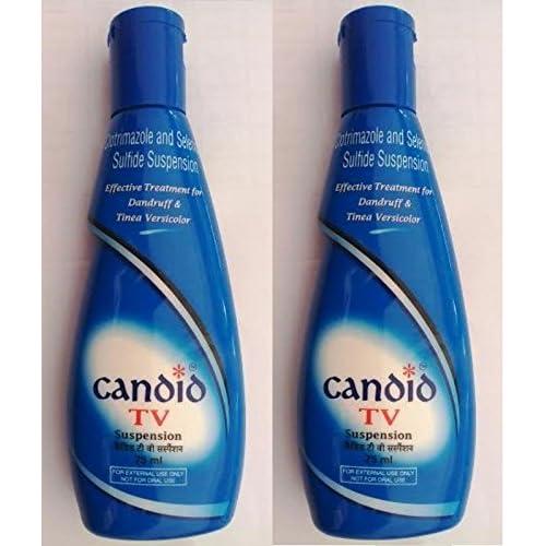 2 pieces 75 ml each Glenmark Candid TV Lotion Treatment for Dandruff & Tinea Versicolo [Candid TV Suspension]
