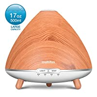Essential Oil Diffuser, multifun 500ml Aroma Diffuser, Large Wood Grain Ultrasonic Cool Mist Oil Diffuser Super Silent with Waterless Auto Shut-off for Baby Bedroom Office Home Yoga Spa