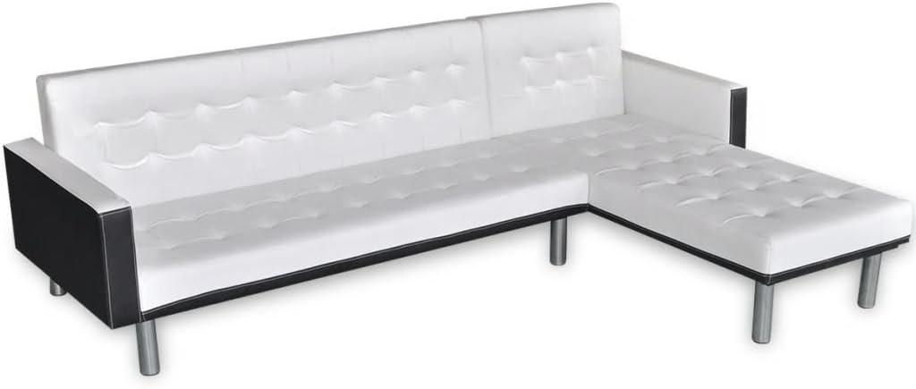Divani Moderni In Pelle Design.Roderick Irving Divano Letto A L In Finta Pelle Bianco Design