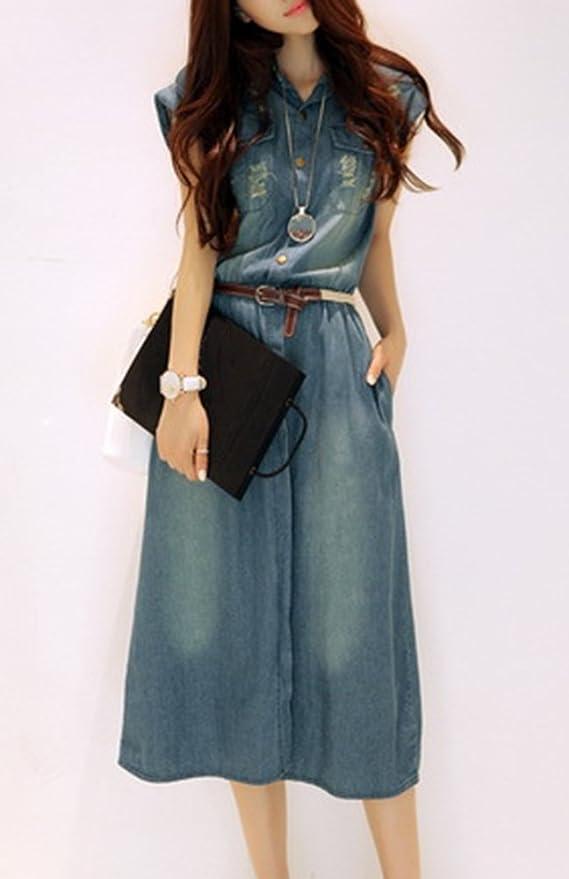 eec9c5ca08c72 Donna Casual Abito Lungo In Jeans Con Bottoni Di Grandi Dimensioni In Denim  Vestito Chemisier Con Cintura Blu XS  Amazon.it  Sport e tempo libero