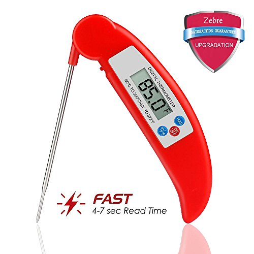 Meat Thermometer,Zebre Instant Read Super Fast Accurate Digital Electronic Food Cooking Thermometer with Collapsible Internal Probe,Best for Kitchen,Grill,BBQ,Milk,and Bath Water (Red)