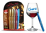 The Wine Glass Markers - 5 Washable Metallic Pens By Party Pen Pals - Write ...