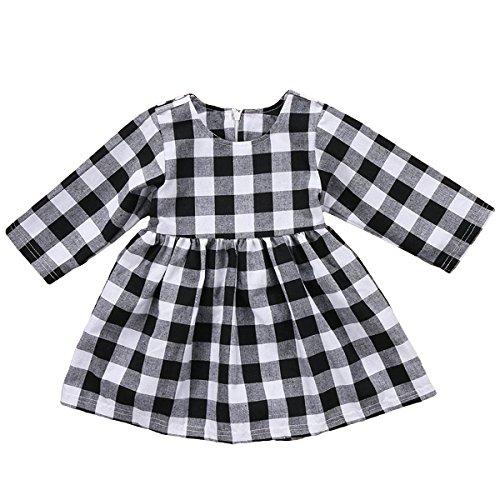(GRNSHTS Baby Girls Princess Dress White and Black Plaid Long Sleeve Playwear (80/6-12 Months, Black & White Plaid))