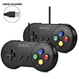 2 Pack SNES Super Classic USB Controller,kiwitatá Retro USB PC Game Controller Gampad Joystick for Windows PC Mac SNES Games