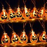 kingleder Halloween Pumpkin String Lights, AA Battery Operated Jack-o-Lantern Pumpkin Skull LED String Light for Halloween Decorations(6.6ft,20leds)