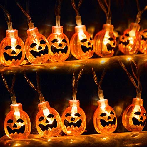kingleder Halloween Pumpkin String Lights, AA Battery Operated Jack-o-Lantern Pumpkin Skull LED String Light for Halloween Decorations(6.6ft,20leds) -