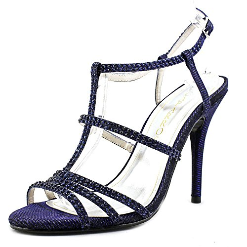 Caparros Womens Groovy Open Toe Special Occasion T-Strap, Navy Glimmer, Size 7.0