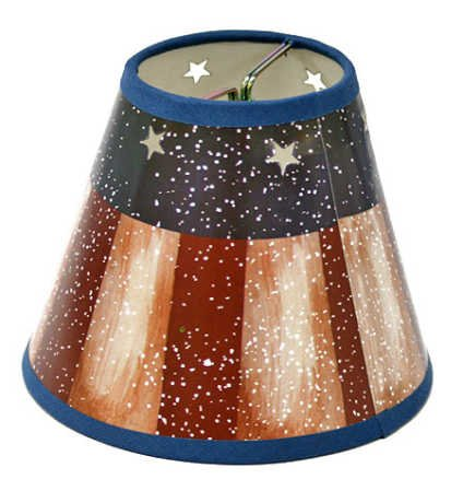 Loop Candelabra (Classic American Flag Design Welcome Candle Lampshades in Barn Red, Navy and Tan - 2 Shades)