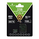 Amplim 32GB Micro SD Card 100MB/s V10 A1 UHS-I Class 10 U1 Full HD microSDHC Memory Card with Adapter, Nintendo-Switch Compatible - Green