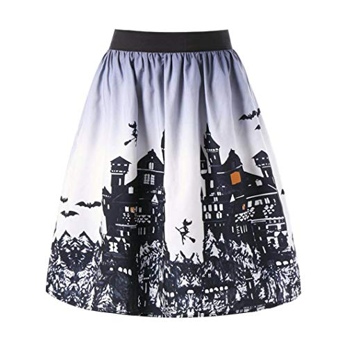 Hemlock Women Halloween Costumes Skirts Halloween Printed Dress Stretchy Waist A-Line Skirt for Halloween Party ()