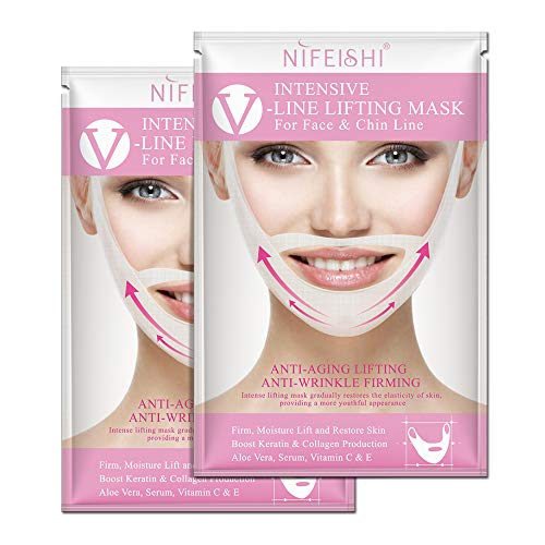 V Line Face Mask and Double Chin Reducer Intense Jawline Mask, Lifting Patch for Chin Up & V Lifting Chin Mask-Chin Up Moisturizing 2pcs (nifeishi)