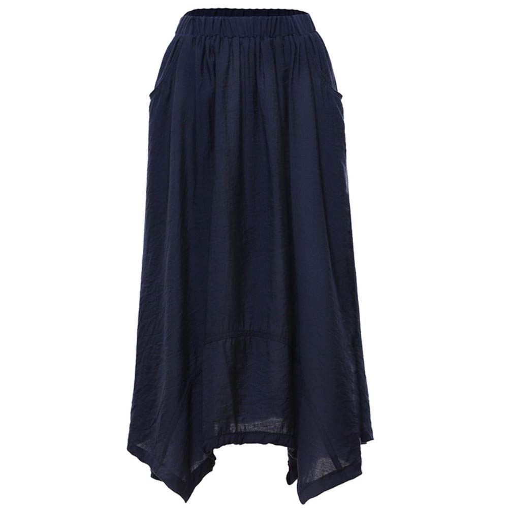 Navy bluee ZPSPZ skirt High Waist HalfLength Skirt European and American Elastic Waist Long Skirt Irregular Dress Women's Pure color