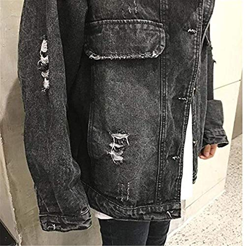 De Vintage Outerwear Denim Elegantes Mujer Abrigos Jacket Ropa Estilo Vaqueras Casuales Manga Rasgado Huixin Solapa Agujeros Cazadoras Boyfriend Otoño Anchos Negro Larga Primavera OxfFqvwT