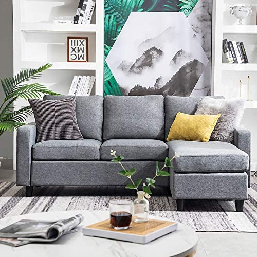 HONBAY Convertible Sectional Sofa Couch Modern Linen Fabric L-Shape Couch for Small Space Gray (Gray)