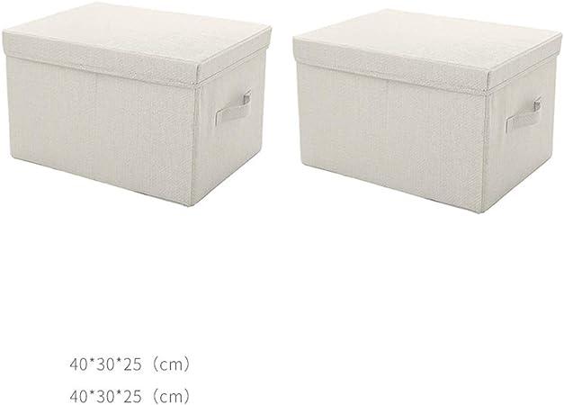 RANGSTOCKRR Cajas de Almacenamiento de 2 Paquetes con Tapa y manija Cajas de Almacenamiento de Tela Plegable Grandes y pequeñas, Ropa de Caja de Almacenamiento, Libros, Cosméticos, Juguetes Grises: Amazon.es: Hogar