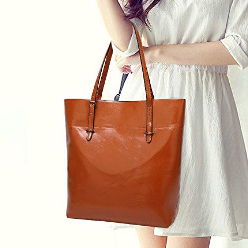 Soft Leather Bags Solid Color Women Casual Shoulder Bags Top-handle Pocket Vintage Big Pocket Travel Office Large Capacity Elegantbrown