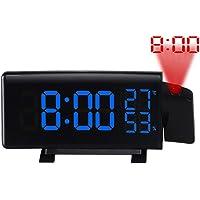 Liamostee - Reloj Despertador Digital con proyector LED