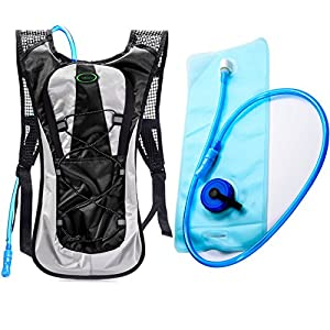 Hydration Backpack--Juboury Water Rucksack Bladder Bag for Running Hiking Cycling and Any Other Outdoor Sports with Free 2L TPU Hydration Bladder (Black)