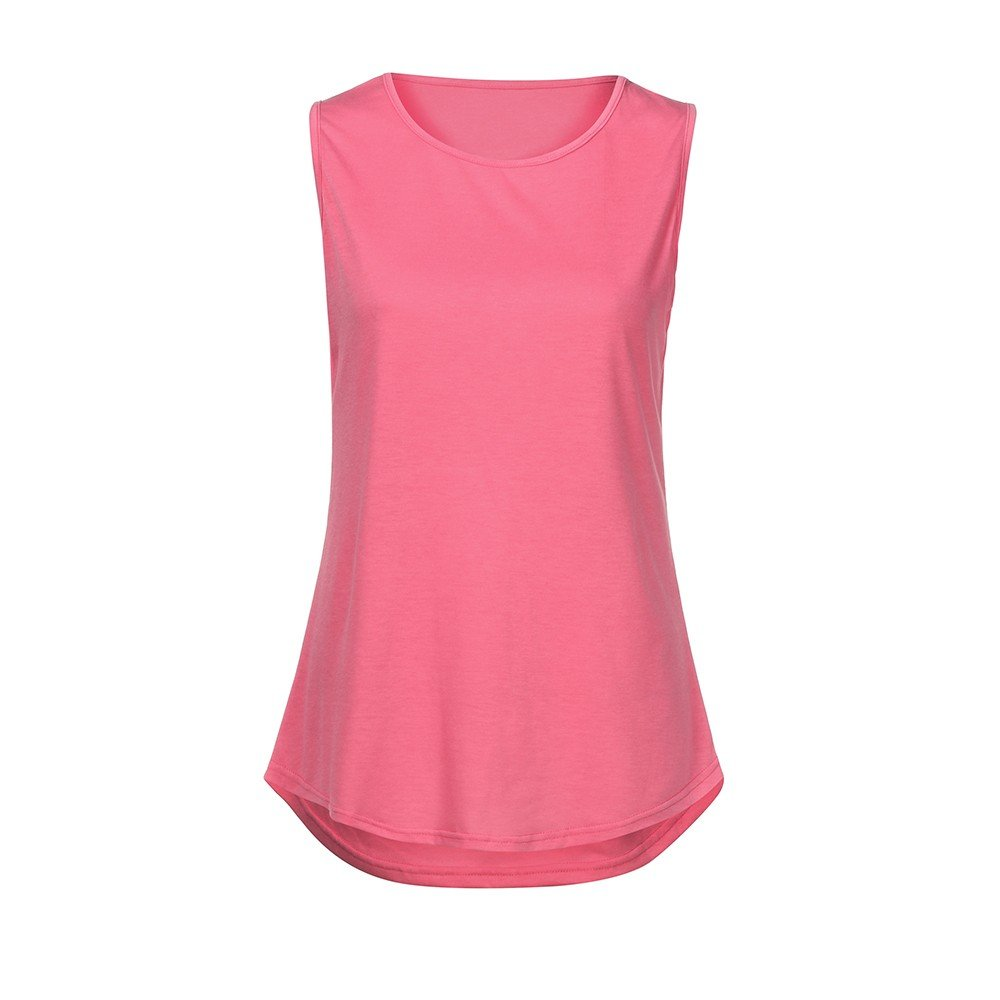 Solid Color Vest for Women, Gogoodgo Ladies Loose O Neck Swing Hem Tank Top Soft Fabric Sleeveless Classic Tops Pink by Gogoodgo vest (Image #5)