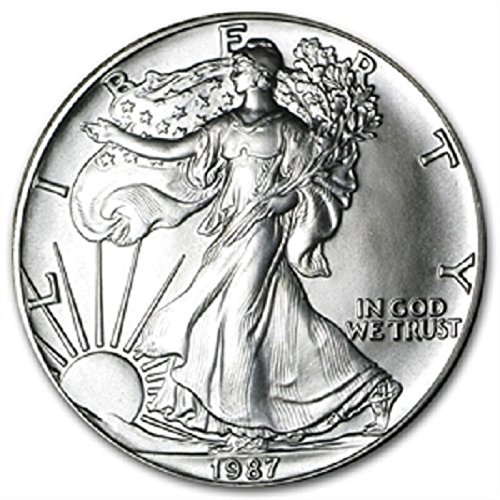1987-1 Ounce American Silver Eagle Low Flat Rate Shipping .999 Fine Silver Dollar Uncirculated US Mint (Cases Coin Half Holders Dollars)