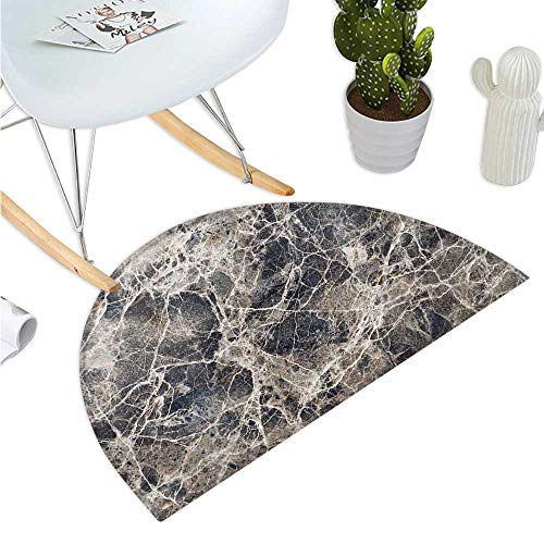 - Marble Half Round Door mats Ceramic Style Grunge Scratches with Formless Lines and Cracks Artwork Bathroom Mat H 35.4