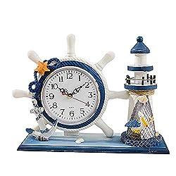 NOBLJX Lighthouse Mantle Clocks Ocean Nautical Clock Decor for Living Room Desktop Solid Wood Mediterranean Style for Kids Bedroom Bedside Home Decoration