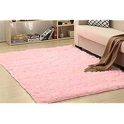 Modern Shaggy Area Rug Living Room/bedroom/Nursery/Teens/ Pink, 2.6