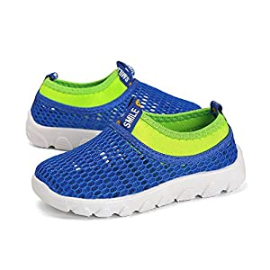 WQINSHOE Boys Girls Casual Aqua Water Shoes Breathable Slip-On Mesh Sneakers For Running Pool Beach(Toddler/Little Kid) Blue 31