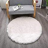 YJ.GWL High Pile White Round Faux Sheepskin Fur
