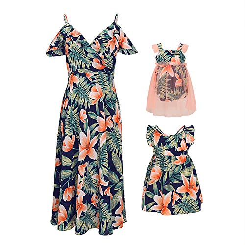 PopReal Mommy and Me Floral Lily Print V-Neck Cold Shoulder Backless Family Matching Outfits]()