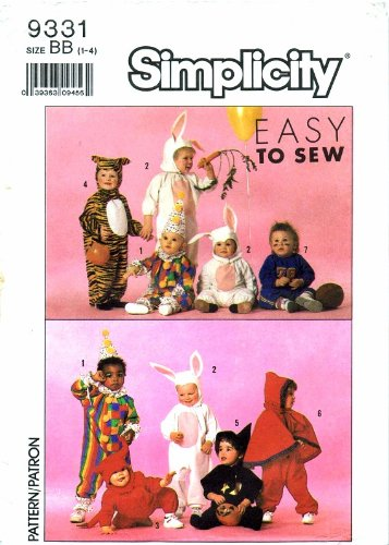 [Simplicity 9331 Sewing Pattern Toddlers Costume Tiger Bunny Clown Football Player Devil Witch Size 1 -] (Rabbit Costume Pattern)