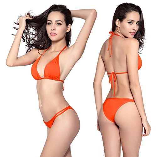 Goodsatar Mujer Conjunto de bikini Trajes de baño Poliéster Push-up Traje de baño acolchado de sostén Ropa de playa Multi Color Disponible Naranja