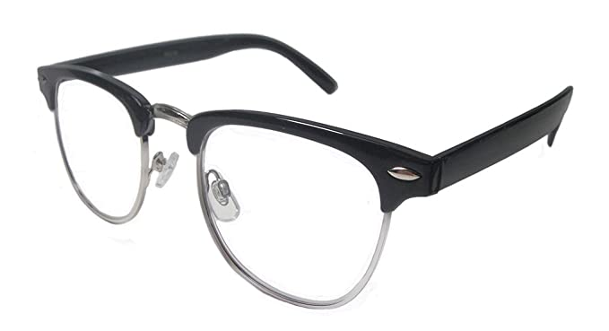 305881eccf6 Amazon.com  Sungaze Readers Man Vintage Reading Glasses Clear Horn Rim  Retro Full Lens (Black Silver
