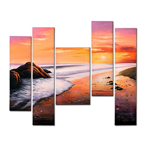 FLY SPRAY Framed 100% Hand Painted Oil Paintings With Bundle Gifts Sunset Beach Aesthetic Feeling Abstract Wall Art Decor Of Home Decoration