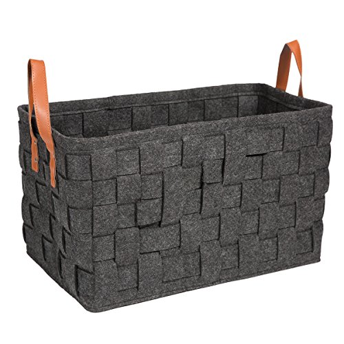 Knitted Plastic Bag (Fabric Storage Laundry Baskets Containers, Estorager Foldable Knitted Baskets Home Organizers Box Cubes with Leather Handles, Large Size (Dark gray))