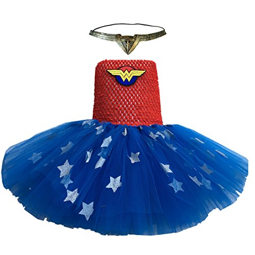 Infant Girl Superhero Costumes (BBVESTIDO Infant Baby Girls Superhero Tutu Dress Halloween Costume (0-2T, wonder women))